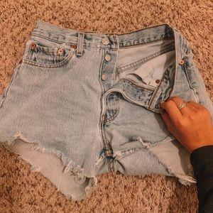 501 Levi's distressed shorts!